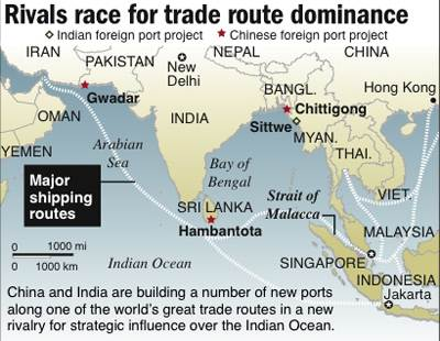 Sri Lanka, China and India: rivalry in the Indian Ocean.